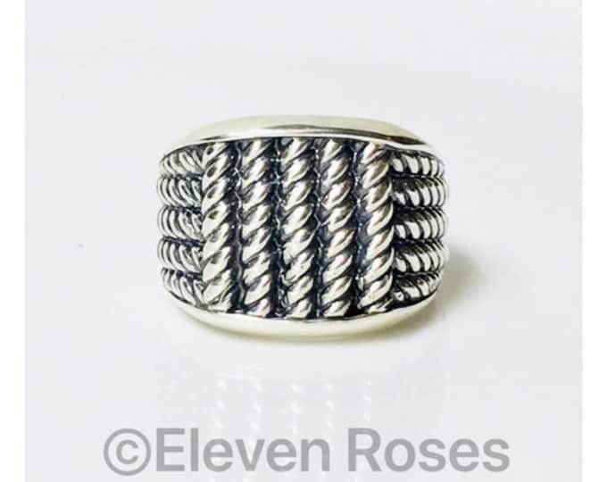 Men's David Yurman Wide Maritime Rope Ring DY 925 Sterling Silver Free Shipping