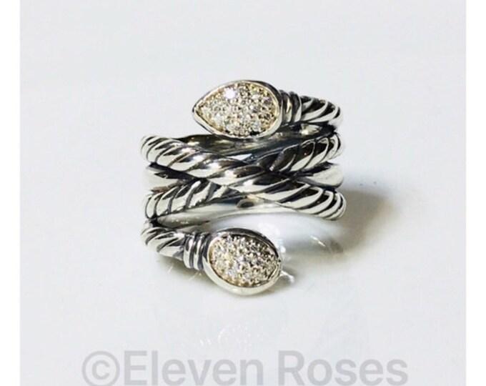 David Yurman Diamond Renaissance Wrap Bypass Ring DY 925 Sterling Silver Free US Shipping