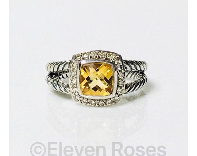 David Yurman Golden Citrine Diamond Petite Albion Ring DY 925 Sterling Silver Free US Shipping