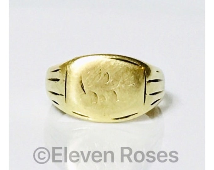 Vintage Antique Solid 585 14k Gold Monogram Signet Ring Free US Shipping