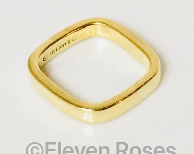 Tiffany & Co. 18k Gold Square Cushion Band Ring Free US Shipping