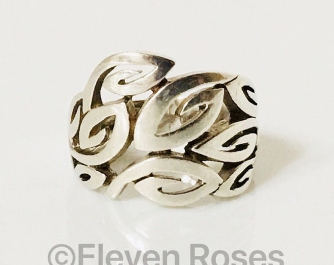 925 Sterling Silver Thick Open Metal Work Extra Wide Ring Free US Shipping