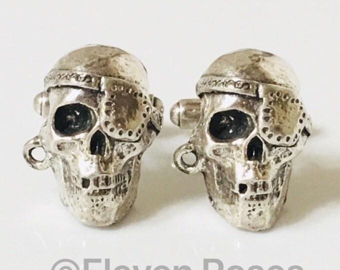 Custom Pirate Skull Cufflinks Cuff Links 925 Sterling Silver Free US Shipping