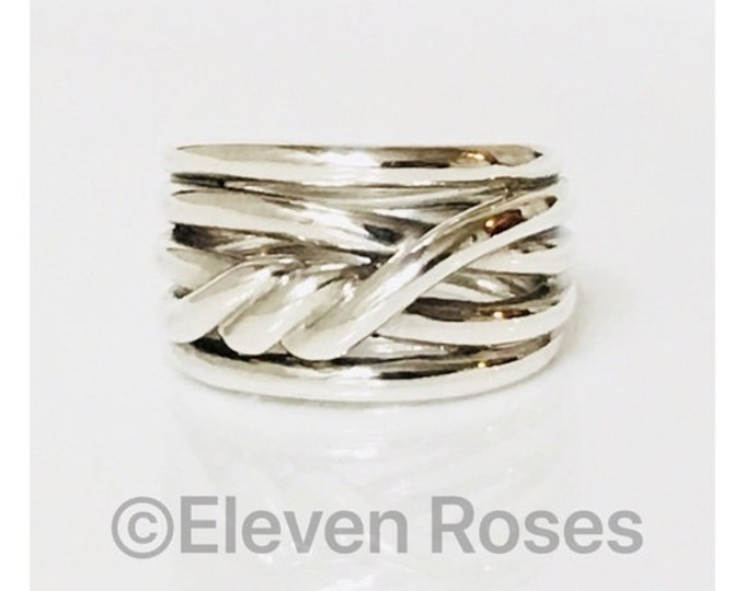 David Yurman Stacked Continuance Ring 925 Sterling Silver Free US Shipping