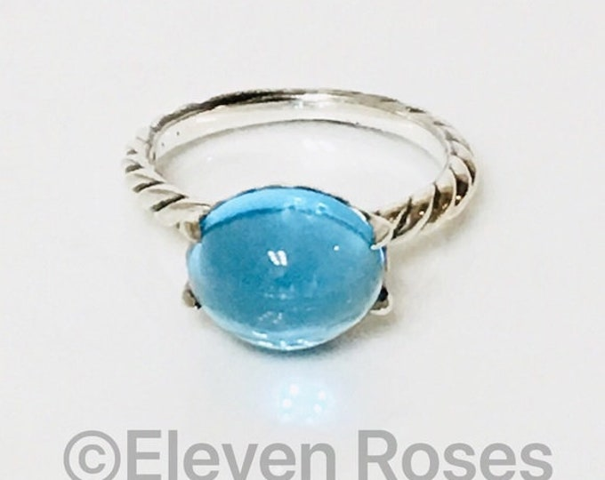 David Yurman Blue Topaz Color Classics Cabochon Stack Ring DY 925 Sterling Silver Free US Shipping