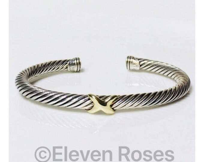 David Yurman Classic Cable X Cuff Bracelet DY 925 Sterling Silver 585 14k Gold Free US Shipping