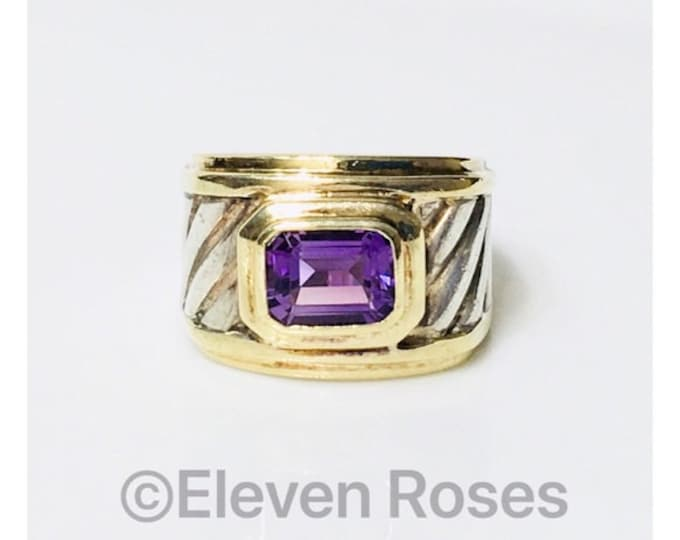 David Yurman Amethyst Wide Cigar Band Ring 925 Sterling Silver & 585 14k Gold Free US Shipping