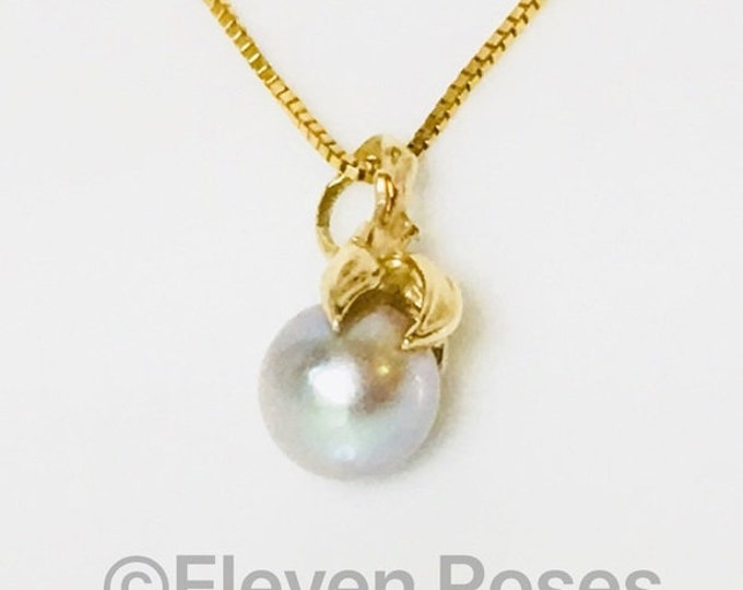 14k Akoya Gold Pearl Solitaire Pendant Necklace Free US Shipping