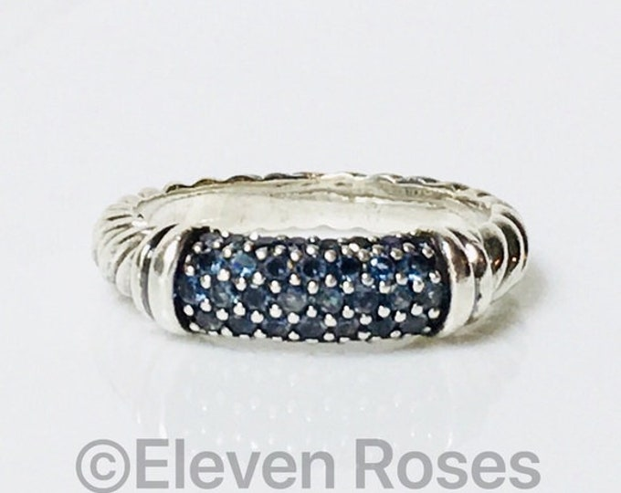 David Yurman Blue Sapphire Cable Candy Metro Ring DY 925 Sterling Silver Free US Shipping