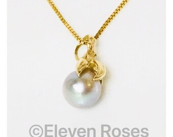 14k 585 Gold Akoya Gold Pearl Solitaire Pendant Necklace Free US Shipping
