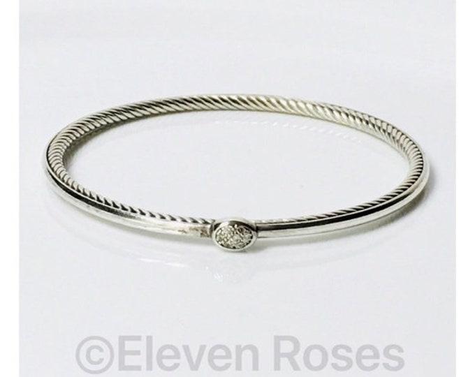 David Yurman Oval Diamond Station Confetti Cable Bangle Bracelet DY 925 Sterling Silver Free US Shipping