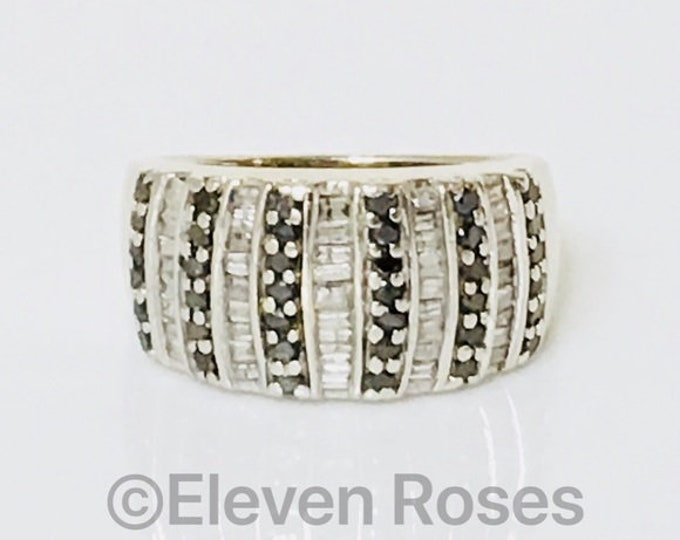 10k Gold Black & White Diamond Dome Band Ring Free US Shipping