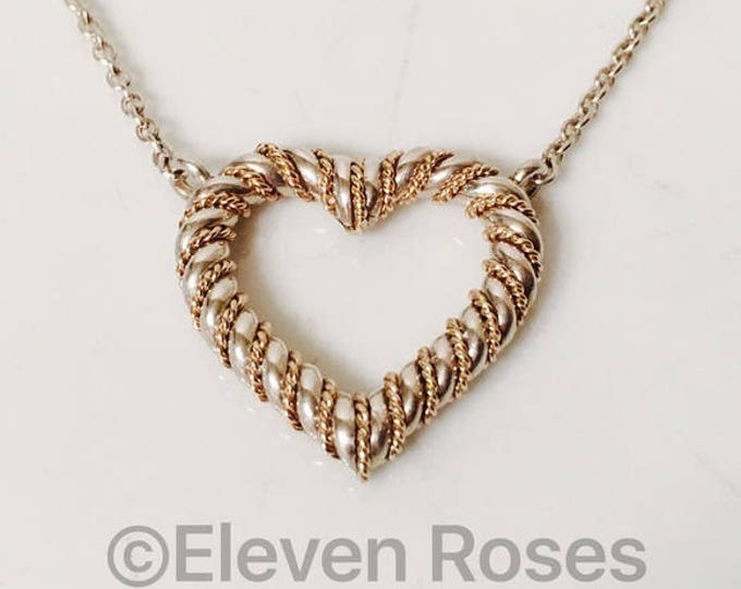 Vintage 925 Sterling Silver 14k Gold Chain Wrapped Heart Pendant Necklace