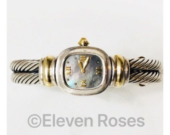 David Yurman Double Cable Black Mother Of Pearl Watch DY 925 Sterling Silver 750 18k Gold Free US Shipping