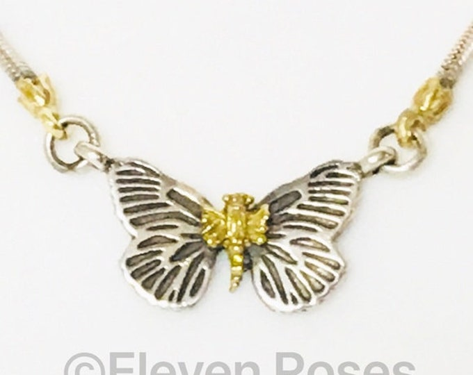 Lagos Caviar Butterfly Stationary Pendant Necklace 925 Sterling Silver 750 18k Gold Free US Shipping