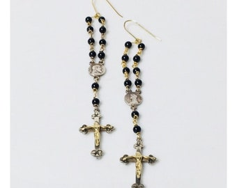 Vintage Long Onyx Rosary Bead Cross Dangle Earrings 925 Sterling Silver 585 14k Gold Free US Shipping