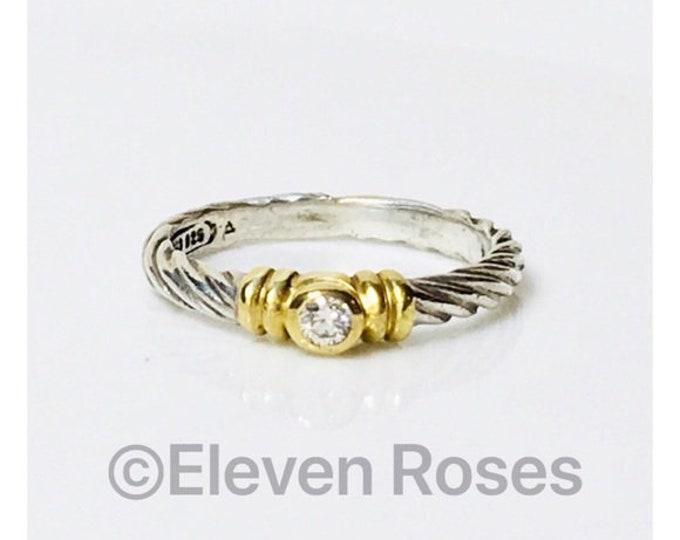 David Yurman Diamond Stacking Ring 750 18k Gold DY 925 Sterling Silver Free US Shipping