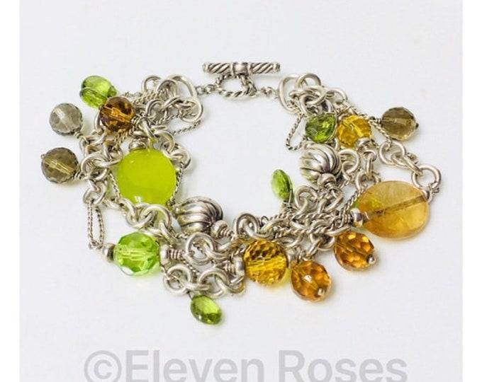 David Yurman Multi Chain Gemstone 4 Row Toggle Bijoux Bracelet 925 Sterling Silver Free US Shipping