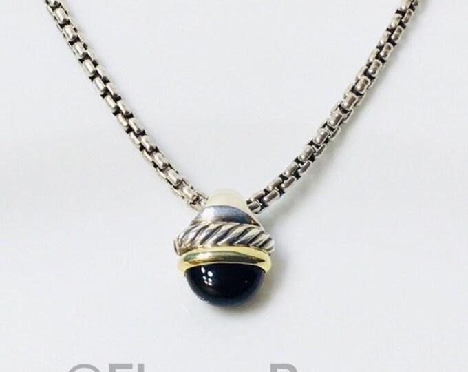 David Yurman Onyx Acorn Pendant Box Chain Necklace DY 925 Sterling Silver Free US Shipping