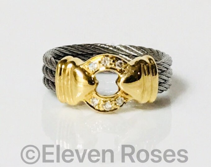 Charriol Diamond Nautical Cable Ring 750 18k Gold Free US Shipping
