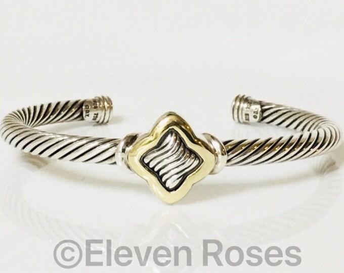David Yurman Quatrefoil Cable Cuff Bracelet DY 925 Sterling Silver & 750 18k Gold Free US Shipping