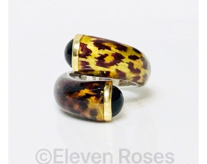 Menegatti Phillip Gabriel Animal Print Enamel Bypass Statement Ring 925 Sterling Silver 750 18k Gold Free US Shipping