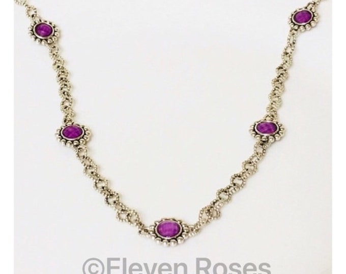 Lagos Caviar Charoite Station Maya Necklace 925 Sterling Silver Free US Shipping