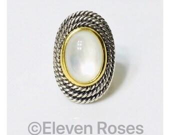 David Yurman XL Moon Quartz Cable Coil Ring 925 Sterling Silver 750 18k Gold Free US Shipping