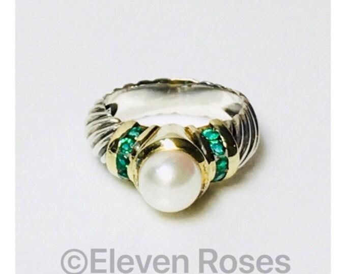 David Yurman Emerald Pearl Ring DY 925 Sterling Silver 585 14k Gold Free US Shipping