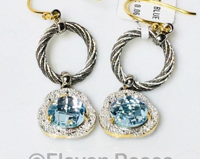 Charriol Blue Topaz Diamond Earrings 750 18k Gold Steel Cable Free US Shipping