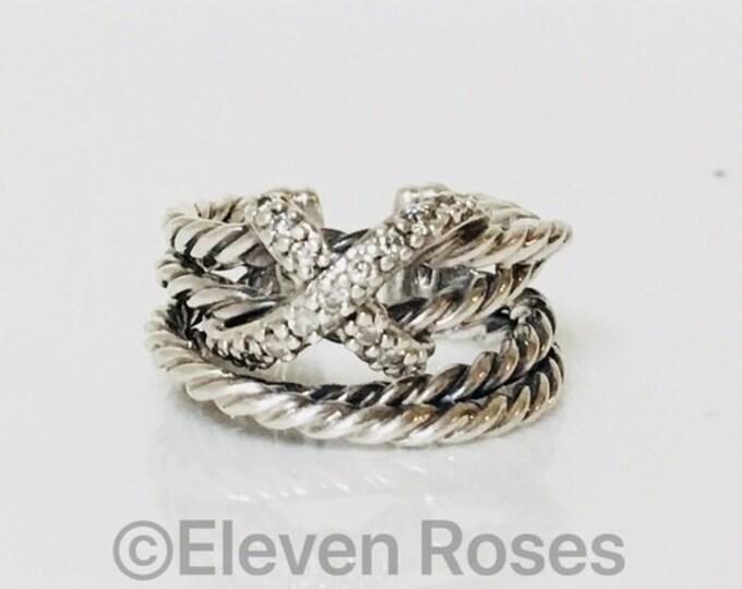 David Yurman Diamond X Crossover Open Cuff Ring 925 Sterling Silver Adjustable Free US Shipping