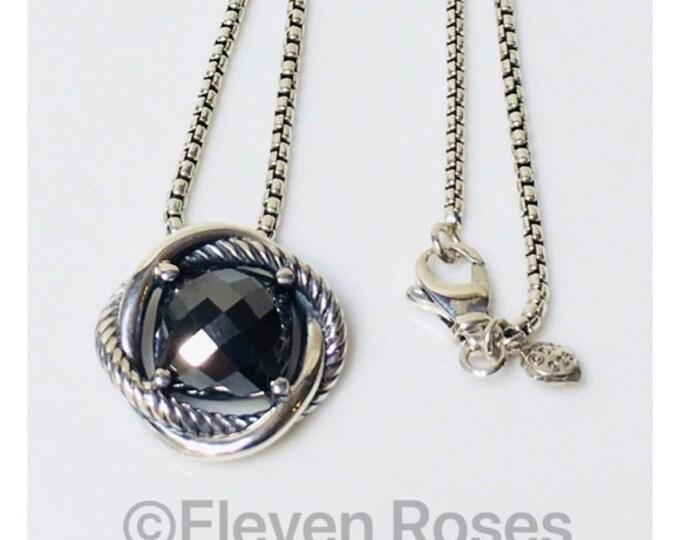 David Yurman Hematite Infinity Necklace 925 Sterling Silver Free US Shipping