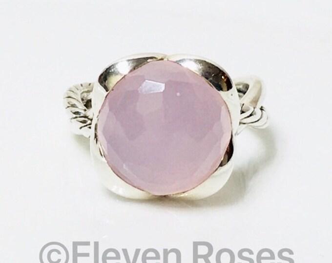 David Yurman Pink Rose Quartz Continuance Ring 925 Sterling Silver Free US Shipping
