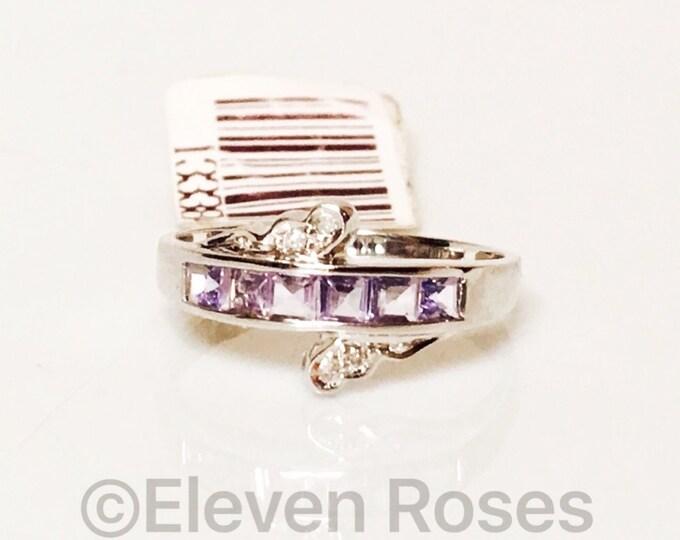 585 14k White Gold Channel Set Tanzanite & Diamond Gemstone Ring Free US Shipping