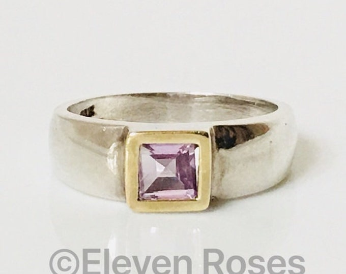 Designer Two Tone 925 Sterling Silver 14k Yellow Gold Square Amethyst Solitaire Ring Free US Shipping