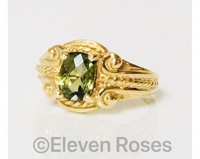 Large 585 14k Gold Green Tourmaline Ring Free US Shipping