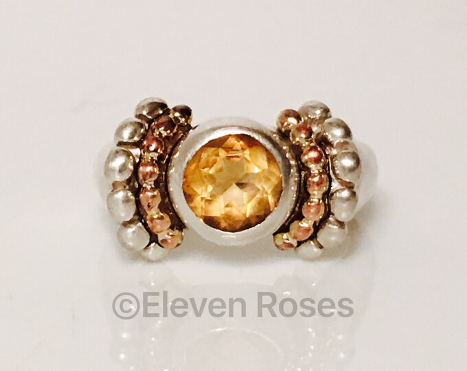 Two Tone 925 Sterling Silver Ring Fluted Caviar Bead Round Bezel Set Citrine Solitaire Center Free US Shipping
