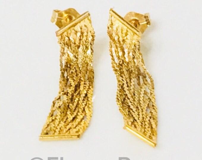 Vintage 585 14k Gold Fringe Tassel Earrings Free US Shipping