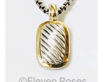 David Yurman Elongated Albion Cable Enhancer Pendant Box Chain Necklace DY 925 Sterling Silver & 750 18k Gold Free US Shipping