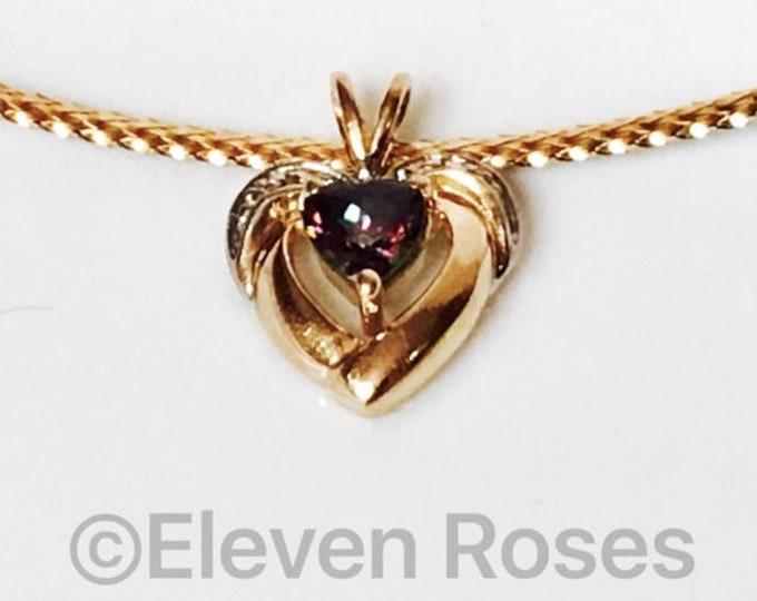 10k Gold Mystic Topaz & Diamond Heart Gemstone Pendant Free US Shipping
