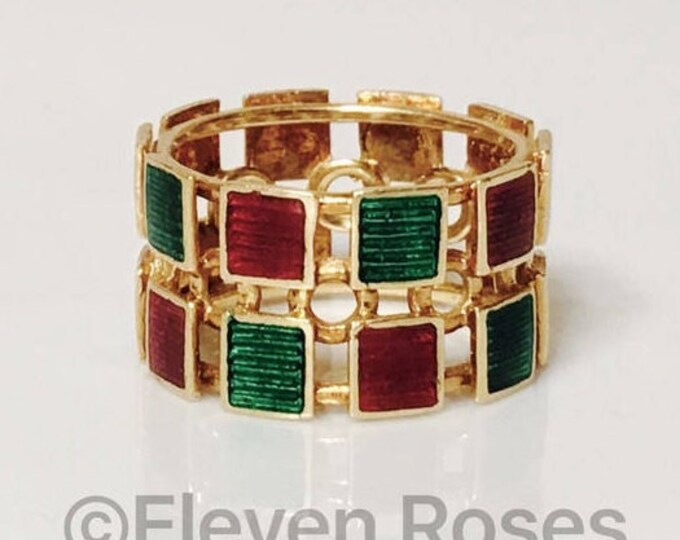 Gucci Ring Solid 750 18k Gold Green & Red Enamel Wide Band Free US Shipping