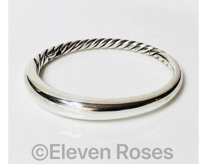 David Yurman Pure Form Hinged Bangle Bracelet DY 925 Sterling Silver Free US Shipping