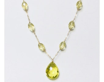 Solid 585 14k Gold Briolette Gemstone Necklace Free US Shipping