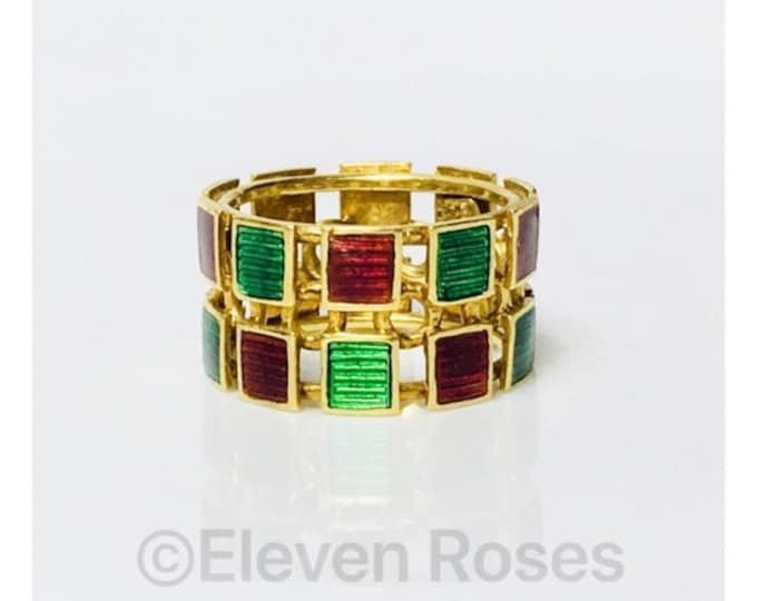 Vintage Gucci Enamel Two Row Ring 750 18k Gold  Free US Shipping