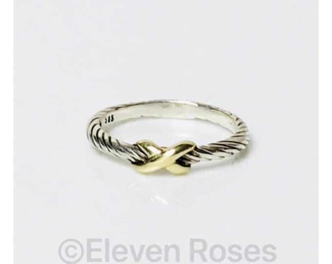 David Yurman Classic Cable Single X Station Crossover Stack Ring 925 Sterling Silver 585 14k Gold Free US Shipping
