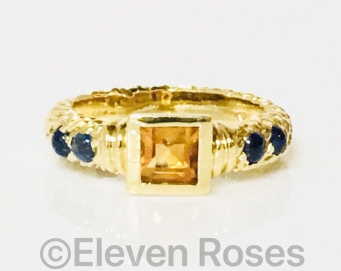 David Yurman Solid 750 18k Gold Blue Sapphire & Citrine Ring Free US Shipping