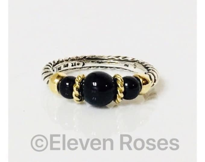 David Yurman Black Onyx Three Stone Hampton Ring 925 Sterling Silver & 750 18k Gold Free US Shipping