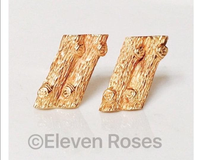 Solid 14k Gold Cuff Links Cufflinks Brutalist Organic Tree Bark Wood Grain Free US Shipping