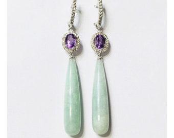 Green Jade Amethyst White Topaz Dangle Drop Earrings 925 Sterling Silver Free US Shipping
