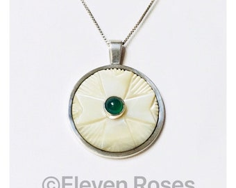 James Frappe Pendant Carved Mother Of Pearl Green Onyx 925 Sterling Silver Necklace Free US Shipping